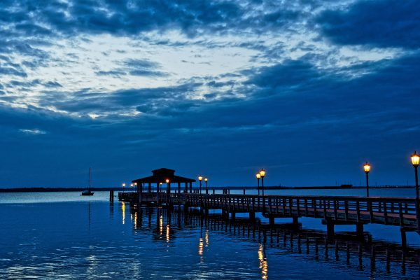 St. John's River view from Spring Park, Green Cove Springs, Florida, before sunrise.